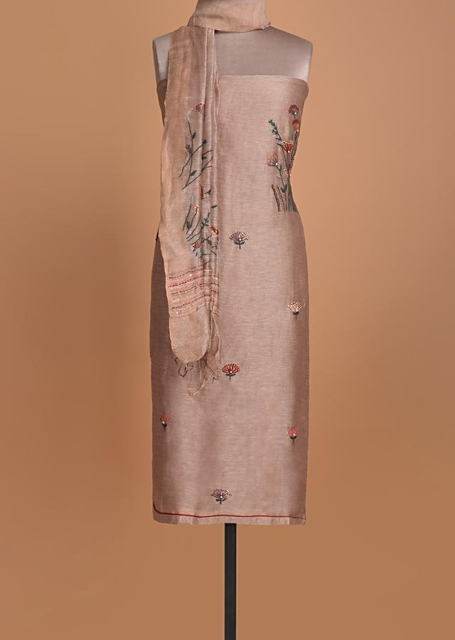 Hazelwood Beige Unstitched Suit In Tussar Silk With Thread Embroidery Online - Kalki Fashion