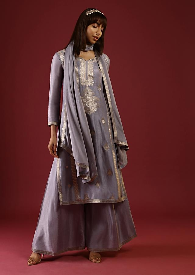 Heather Purple Palazzo Suit In Silk With Brocade Buttis And Ethnic Motif Online - Kalki Fashion