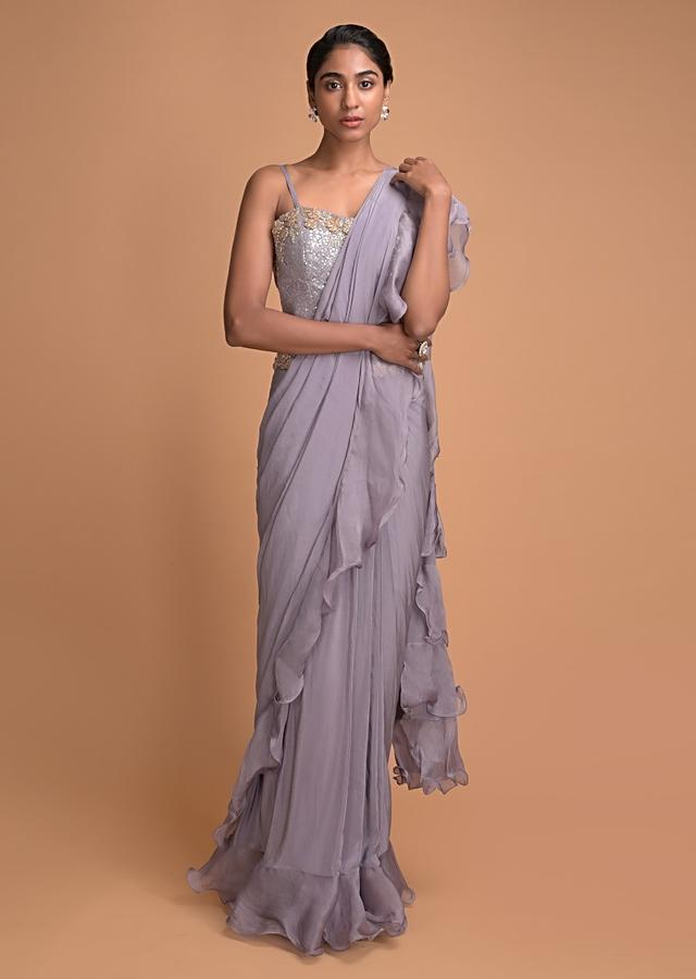 Heather Purple Ready Pleated Ruffle Saree With Cut Dana Embroidery Online - Kalki Fashion