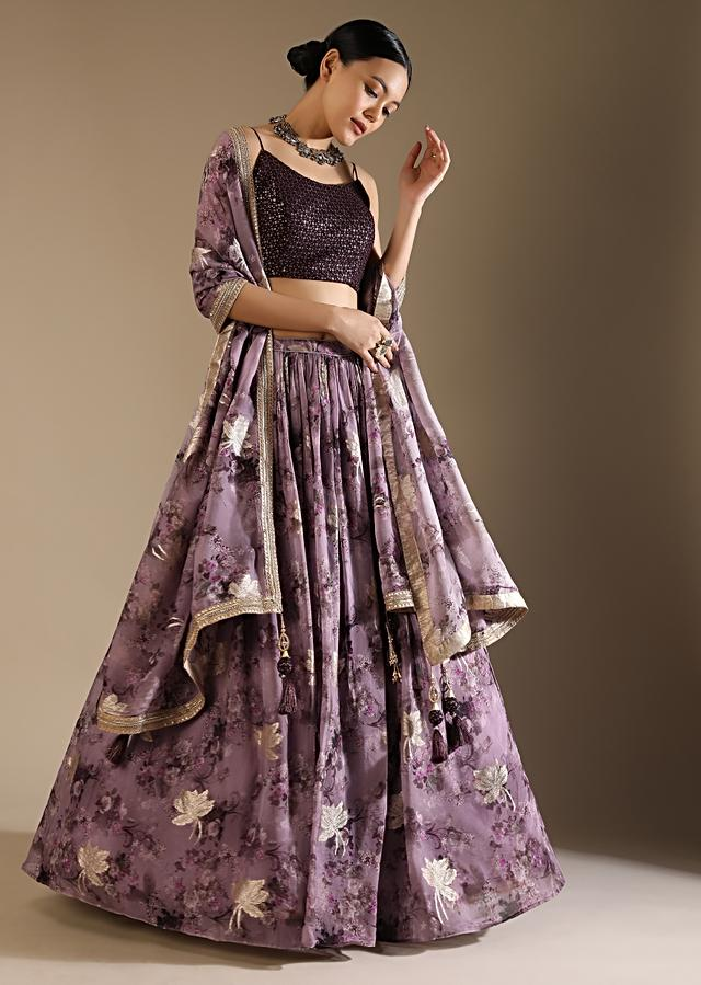 Heather Purple Skirt And Crop Top Set With Floral Print And Lurex Woven Flowers Online - Kalki Fashion
