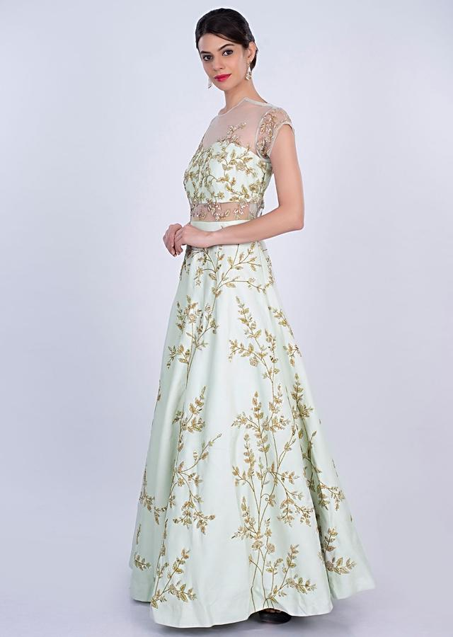 Heavy Mint Flared Gown In Dupion With Delicate Floral Jaal Embroidery Online - Kalki Fashion