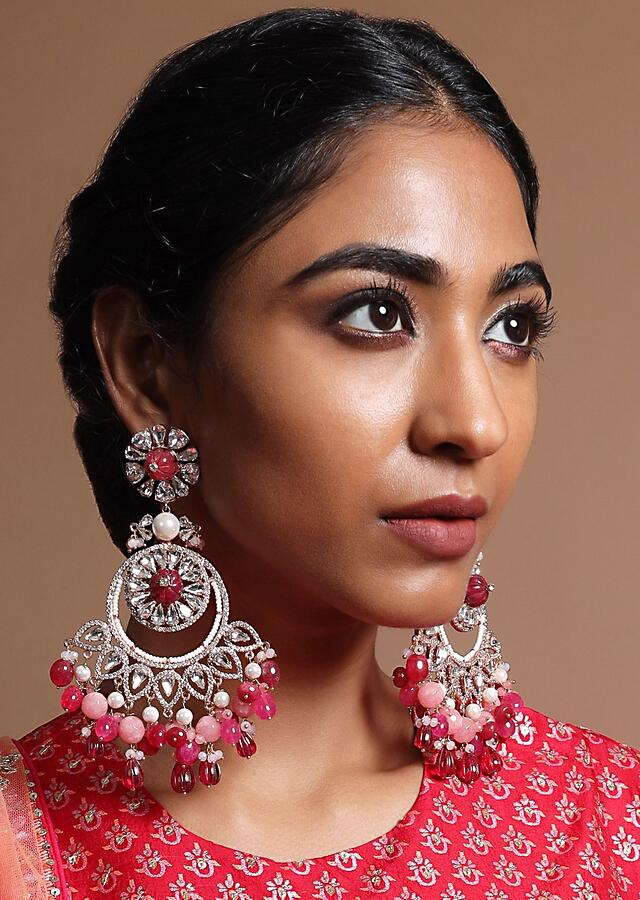 Heavy Dangler Earrings With Dangling Beads In Hues Of Pink Along With Crystals, Stone And Pearls By Prerto