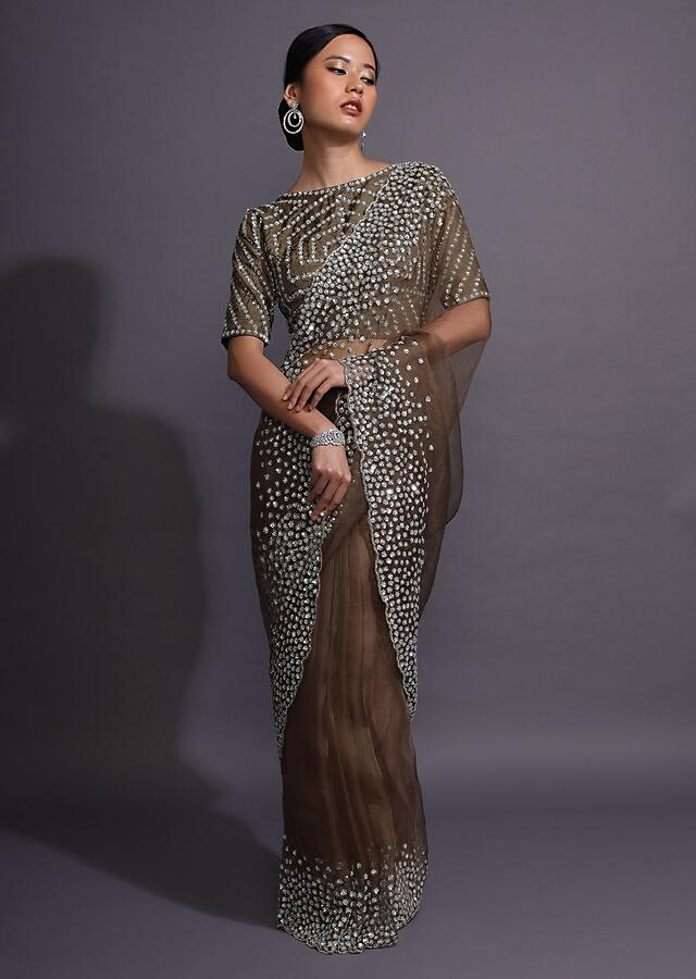 Henna Brown Saree In Organza With Sequin Flowers On The Scalloped Border Online - Kalki Fashion