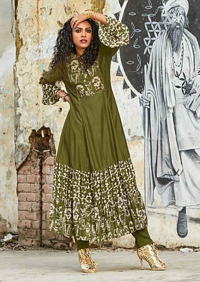 Henna Green A Line Suit In Cotton With Batik Print And Zardozi Work Online - Kalki Fashion