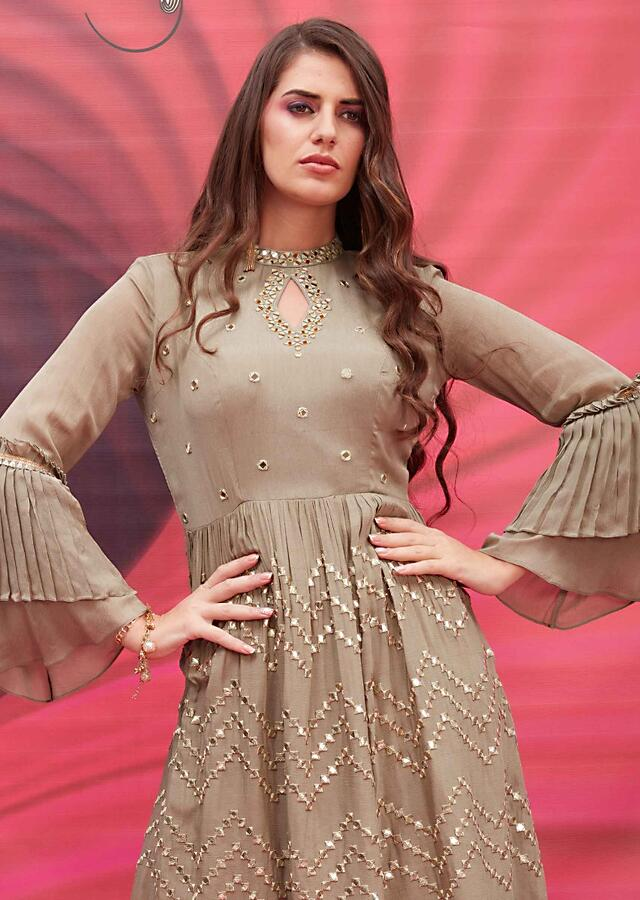 Henna Green Long Dress With Bell Sleeves And Mirror Abla Embroidery Online - Kalki Fashion