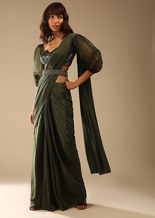 Henna Green Ready Pleated Saree In Crepe With Moti Embroidered Belt And Balloon Sleeves Blouse Online - Kalki Fashion