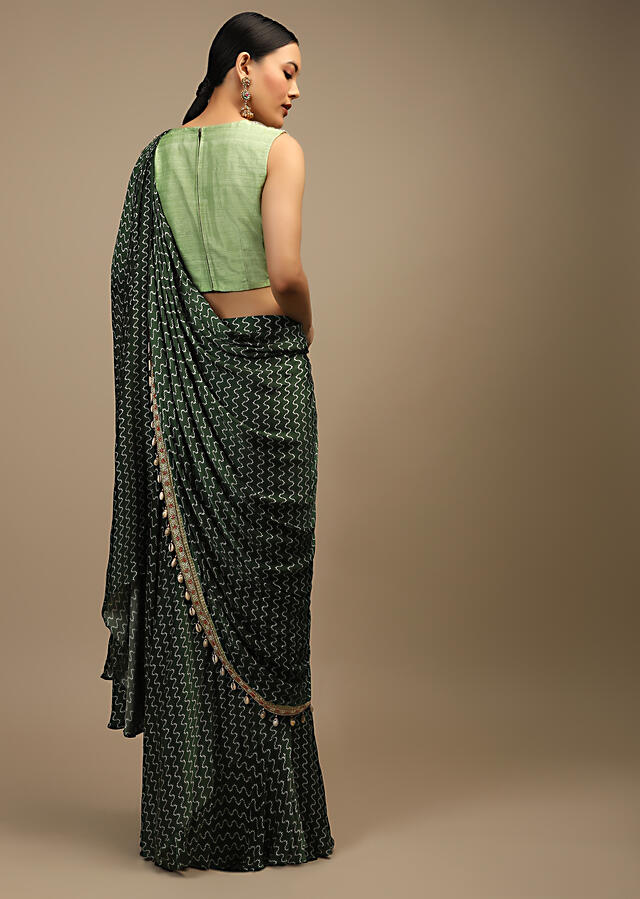 Henna Green Ready Pleated Saree In Satin With Geometric Print And Sequins Embroidered Pastel Green Crop Top Online - Kalki Fashion