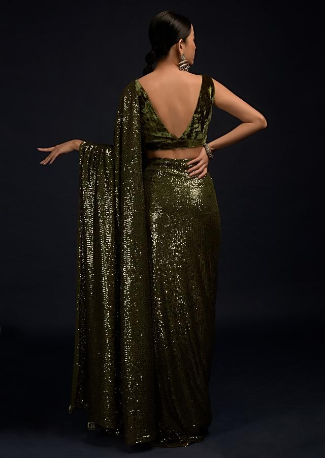 Henna Green Ready Pleated Saree In Sequins Fabric With A Matching Velvet Blouse With Plunging Neckline Online - Kalki Fashion