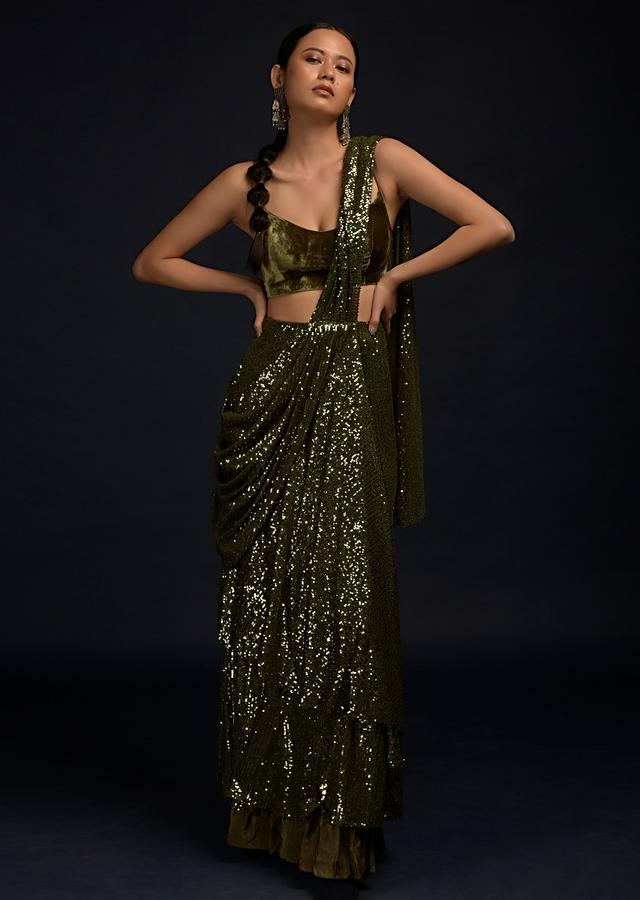 Henna Green Ready Pleated Saree In Sequins Fabric With Fancy Pallu And Cowl Drape Along With Velvet Blouse Online - Kalki Fashion
