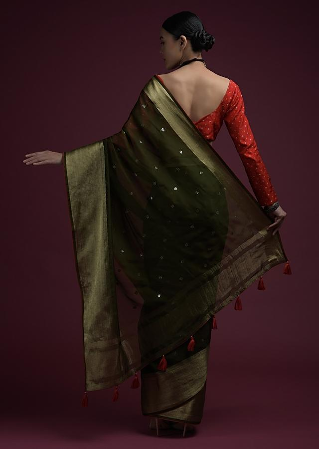 Henna Green Saree In Organza Silk With Abla Embroidered Buttis And Unstitched Red Brocade Blouse Online - Kalki Fashion