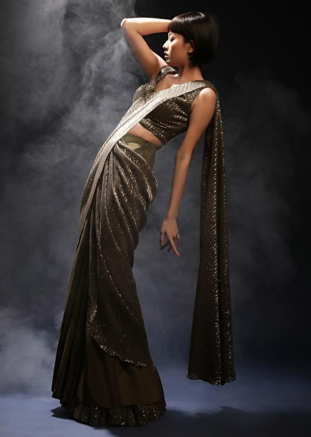 Henna Green Ready Pleated Saree In Crepe With Sequins Embellished Pallu, Frill On The Hemline And Ready Blouse Online - Kalki Fashion