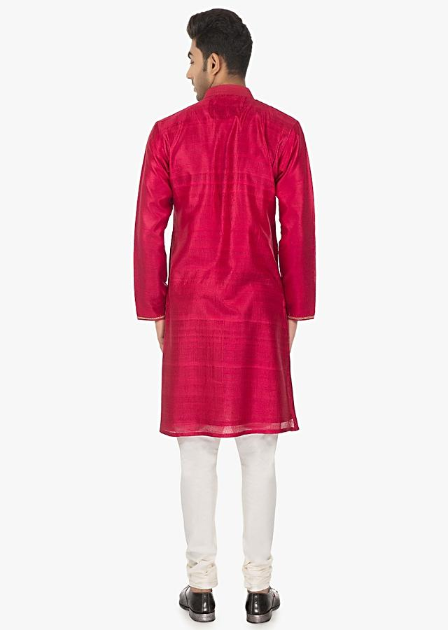 Hibiscus Red Kurta In Silk And White Chudidar Set Online - Kalki Fashion