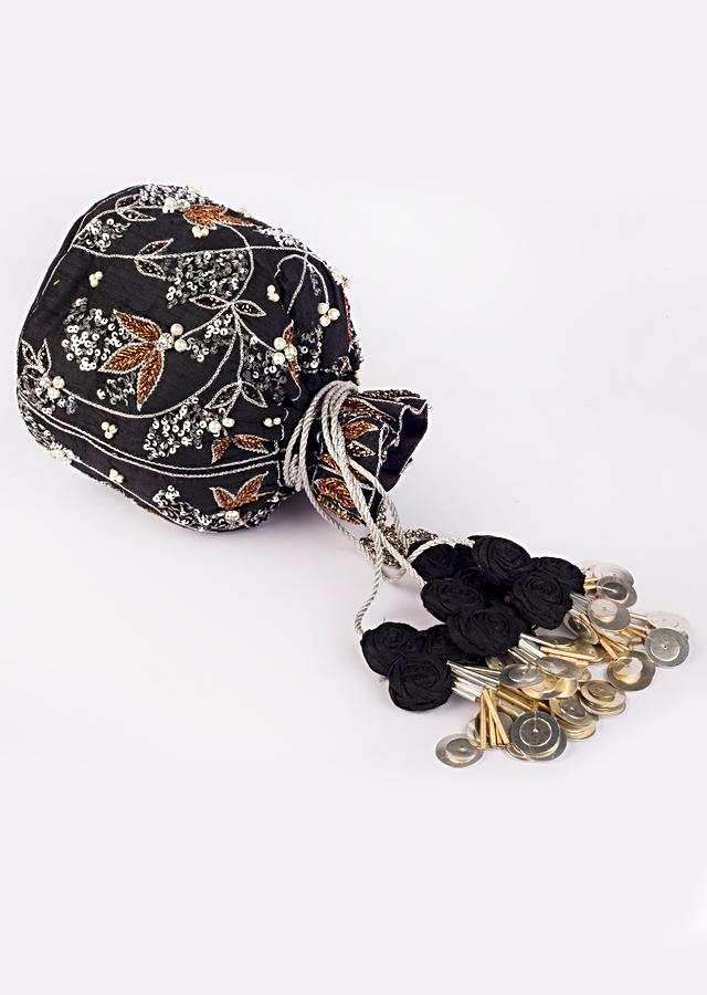 Black Potli In Heavy embroidered Fabric With, Pearl, sequins, and different colors of cut dana work In Floral Motifs By Vareli Bafna