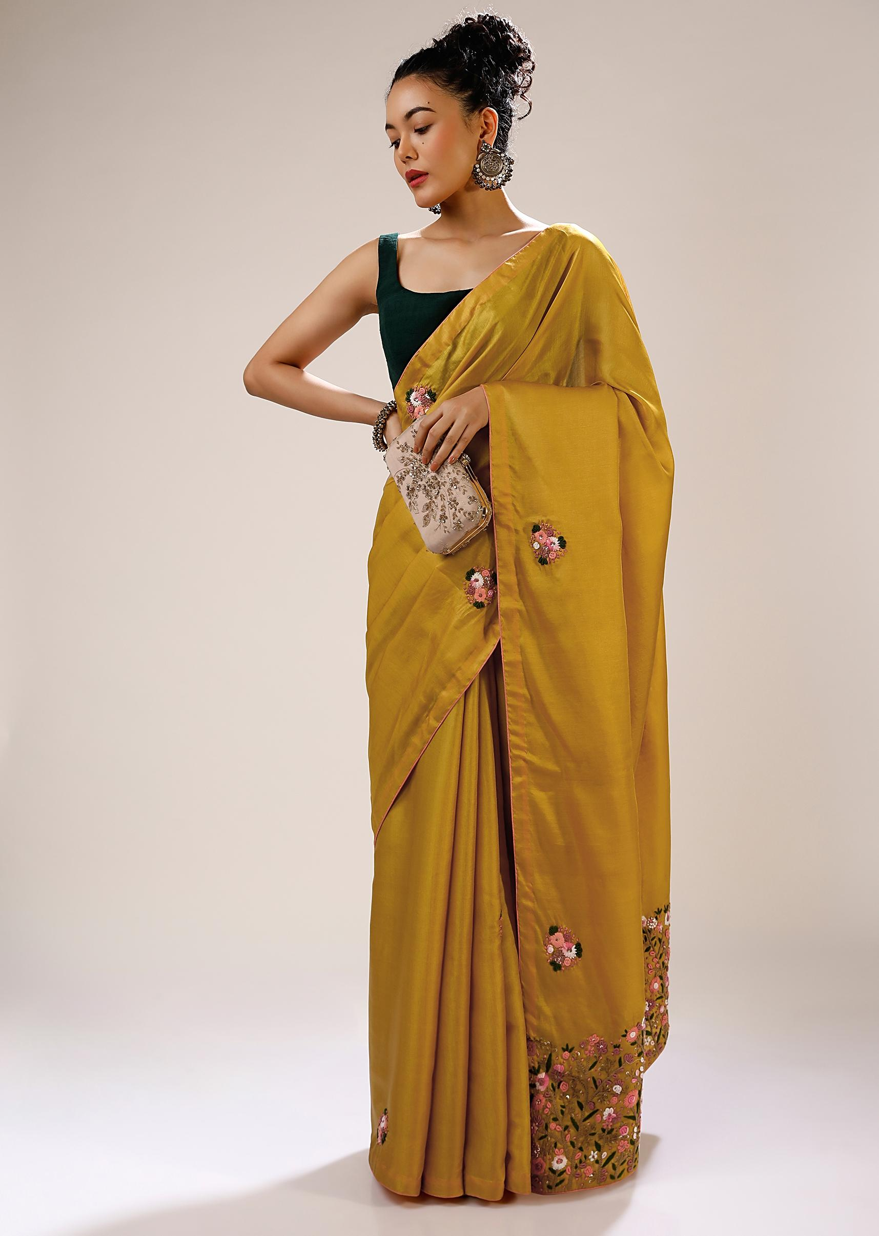 Honey Gold Saree In Dupion Silk With Multi Colored Bud Embroidered Floral Buttis And Heavy Pallu Design Online - Kalki Fashion