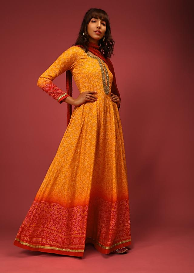 Honey Orange And Red Ombre Anarkali Suit In Cotton Silk With Bandhani Design And Gotta Patti Embroidered Placket Online - Kalki Fashion