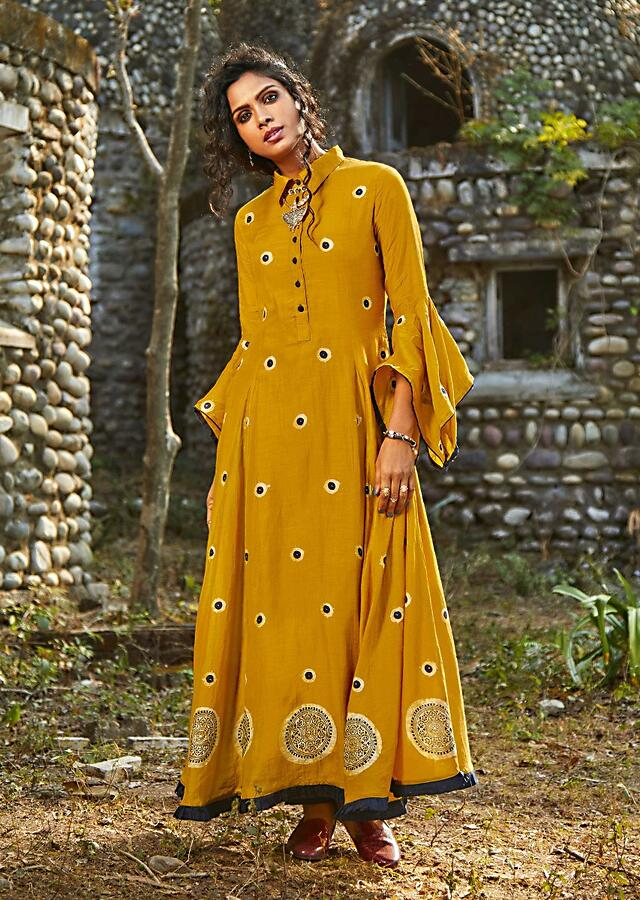 Honey Yellow A Line Suit In Cotton With Block Print Online - Kalki Fashion