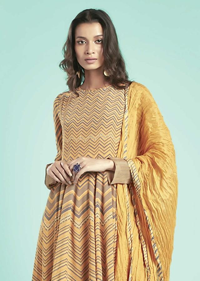 Honey Yellow Anarkali Suit In Crepe With Chevron Print Online - Kalki Fashion