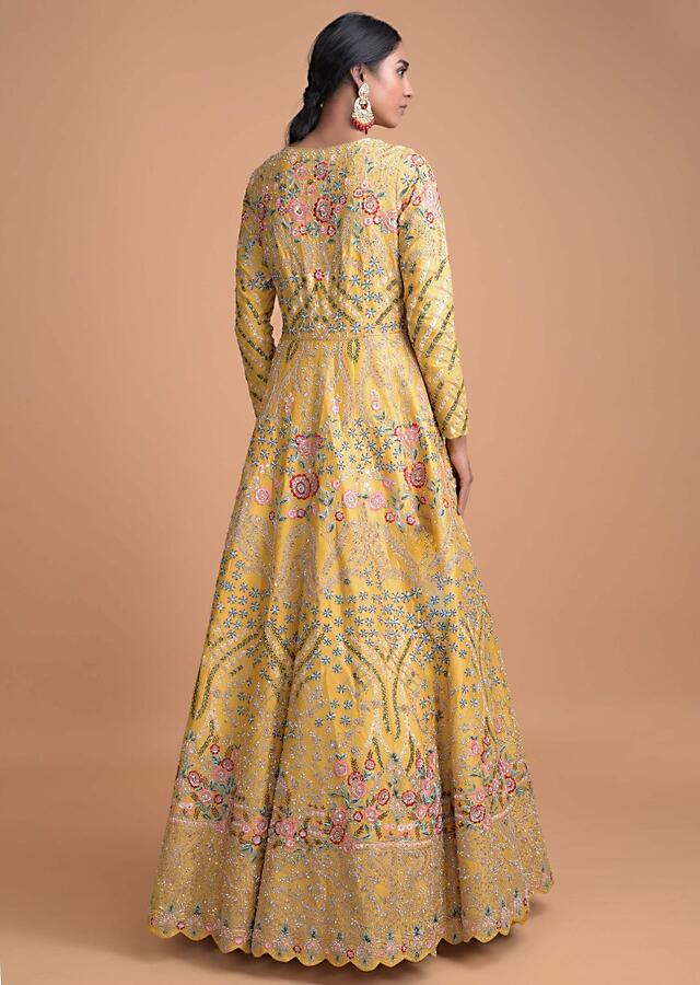 Honey Yellow Anarkali Suit With Heavy Hand Embroidery In Floral And Leaf Pattern Online - Kalki Fashion