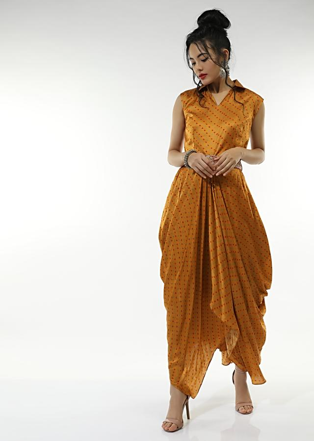 Honey Yellow Cowl Dress In Satin Blend With Bandhani And And Zardosi Embroidered Red Belt Online - Kalki Fashion