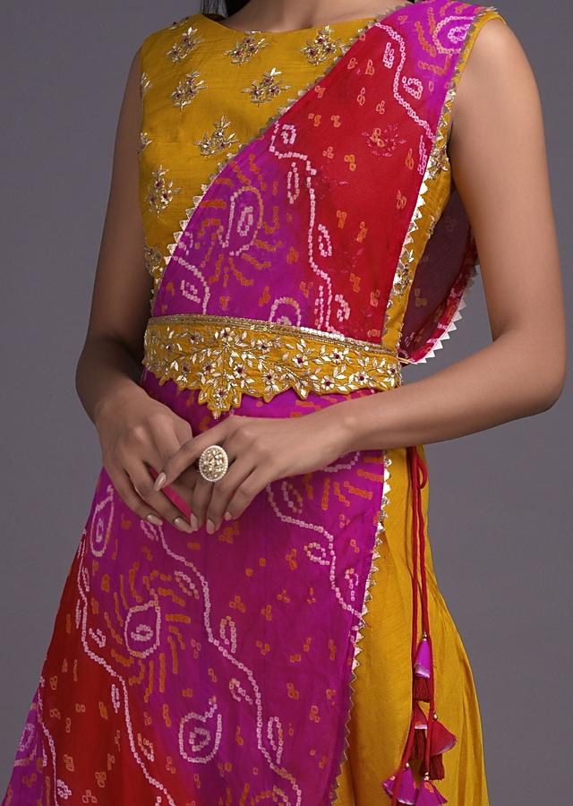Honey Yellow Dhoti Suit With Shaded Drape Having Bandhani Print Online - Kalki Fashion