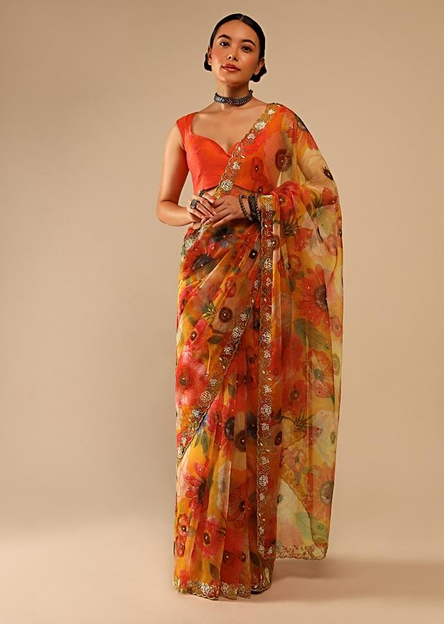 Honey Yellow Saree In Organza With Floral Print And Hand Embroidered Moti Work On The Border Online - Kalki Fashion