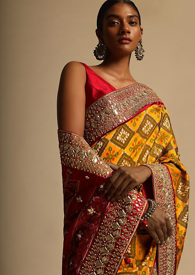 Honey Yellow Saree In Silk With Woven Patola Design And Gotta Embroidered Border Along With Unstitched Blouse Online - Kalki Fashion