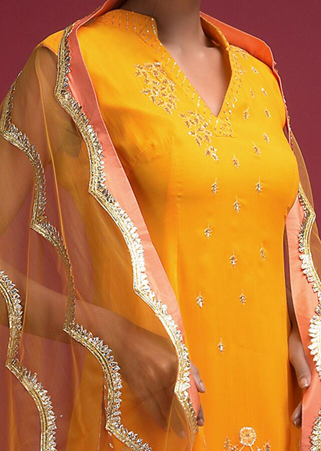 Honey Yellow Sharara Suit In Georgette With Thread And Sequins Work In Floral Pattern Online - Kalki Fashion