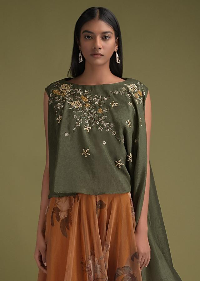 Honey Yellow Skirt In Organza With Floral Print And Olive Green Crop Top With Asymmetric Hem Online - Kalki Fashion