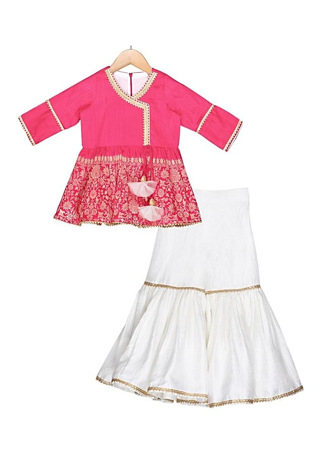 Hot pink aangrakha top paired with contrasting ivory sharara and dupatta Online - Free Sparrow