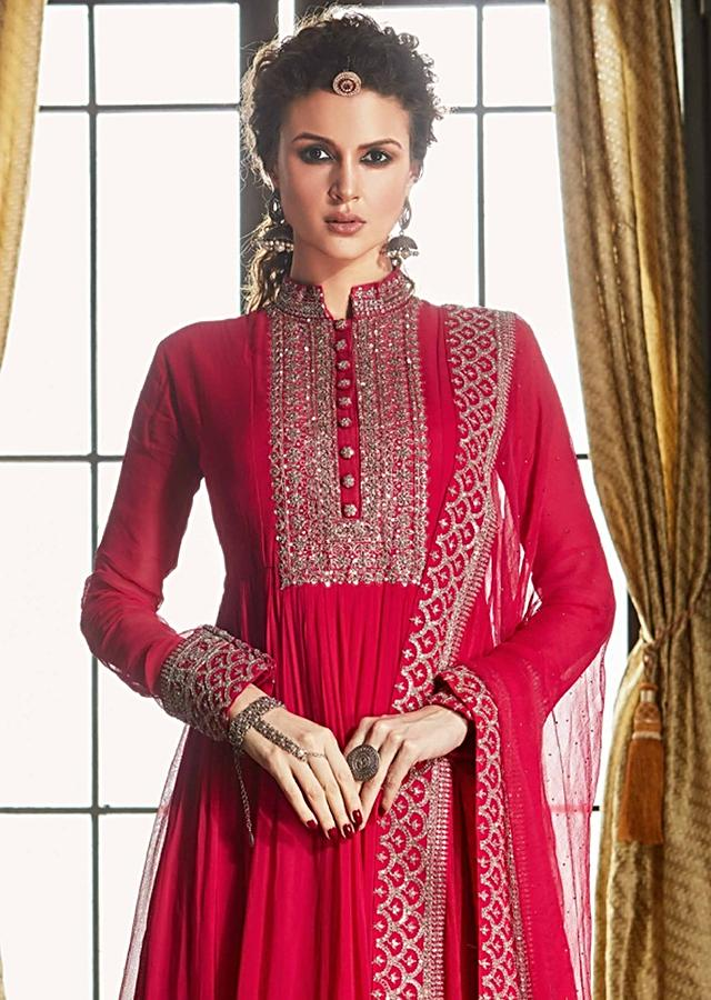 Hot Pink Anarkali Suit In Georgette With Zari And Sequins Embroidered Placket And Border Online - Kalki Fashion