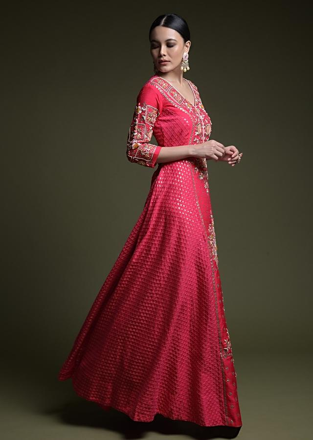 Hot Pink Anarkali Suit In Raw Silk With Hand Embroidered Center Panel In Colorful Thread And Zardosi Work Online - Kalki Fashion