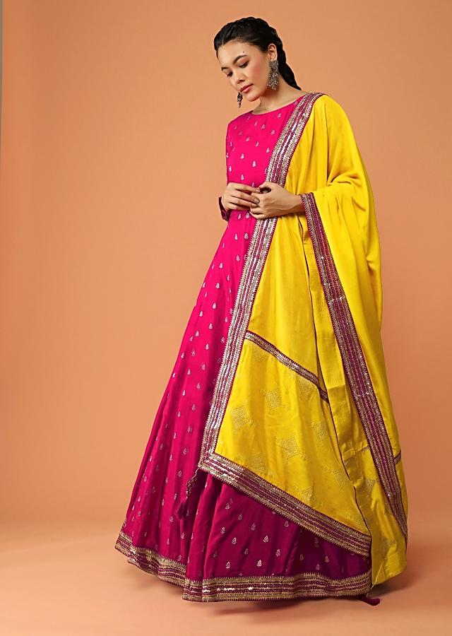 Hot Pink Anarkali Suit In Silk With Brocade Buttis And Contrasting Brocade Dupatta Online - Kalki Fashion