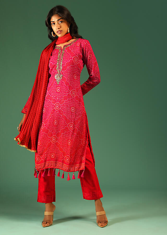 Hot Pink And Orange Shaded Straight Cut Suit In Chiffon With Bandhani Design All Over And Tassels On The Hem Online - Kalki Fashion