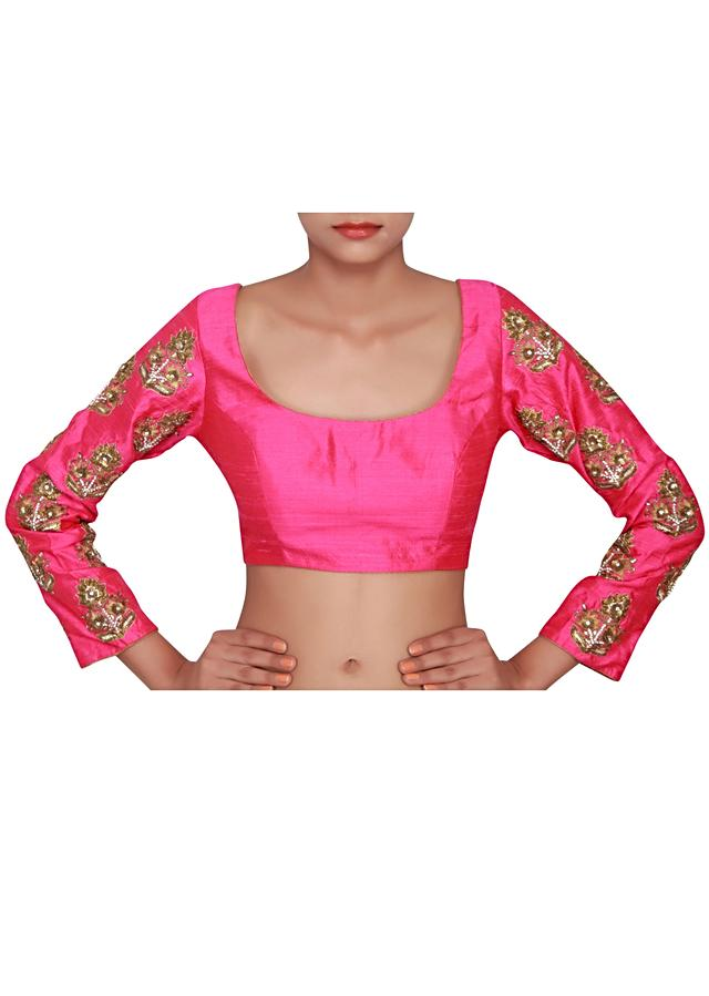 Hot pink blouse featured in raw silk, embellished in Zari and sequence only on Kalki