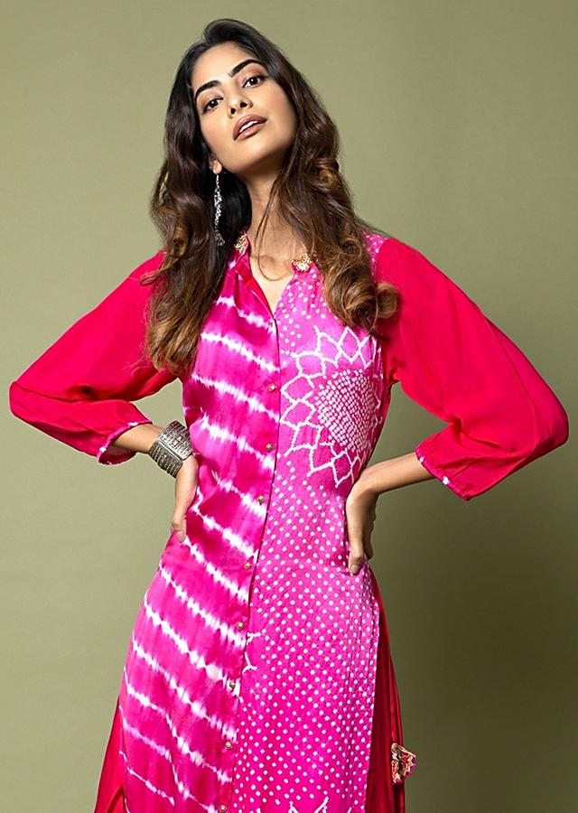 Hot Pink Button Down Tunic And Dhoti Pants Featuring Lehariya And Bandhani Along With Hand Embroidery Online - Kalki Fashion