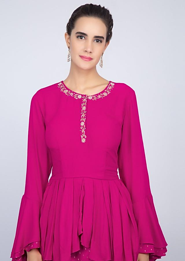 Hot Pink Lehenga In Cotton With Weaved Buttis And Matching Peplum Top Online - Kalki Fashion