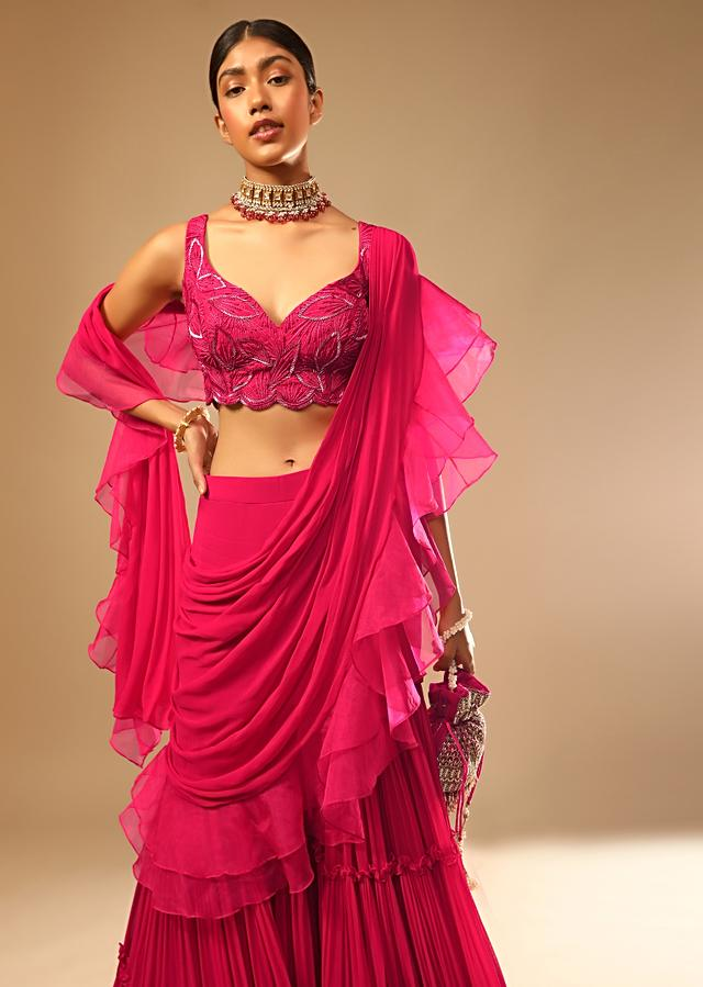 Hot Pink Crop Top Sharara Suit With An Attached Ruffle Draped And An Hand Embroidered Leaf Motifs Online - Kalki Fashion