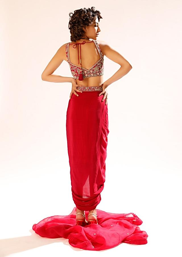 Hot Pink Dhoti Suit In Crepe With Hand Embroidered Crop Top Adorned In Resham And Sequin Work Online - Kalki Fashion