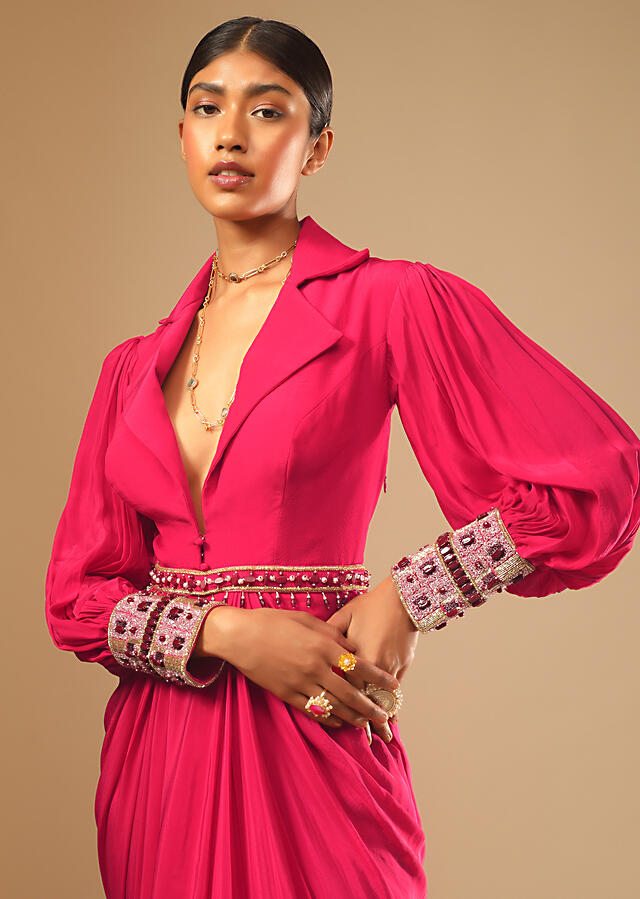 Hot Pink Dress With A Chunky Embroidered Bishop Sleeves And Collar Neckline Online - Kalki Fashion