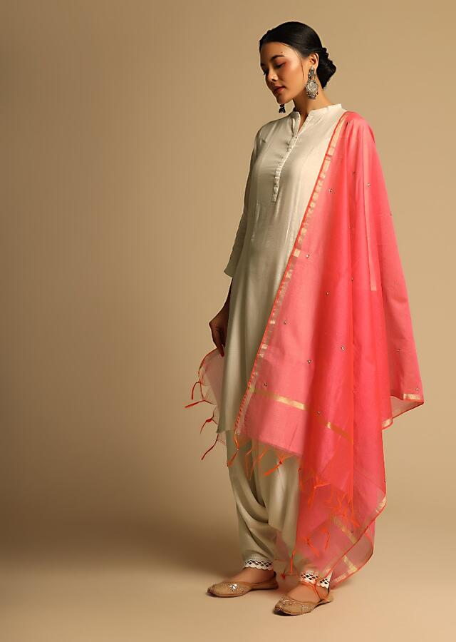 Hot Pink Dupatta In Silk With Sequins Embroidered Floral Buttis Online - Kalki Fashion