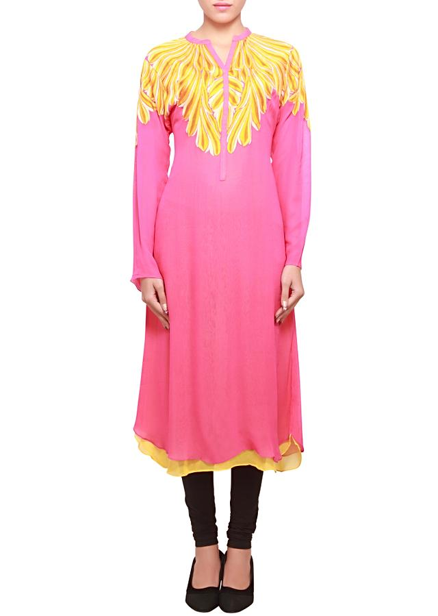 Hot pink georgette kurti embellished in yellow thread embroidery only on kalki