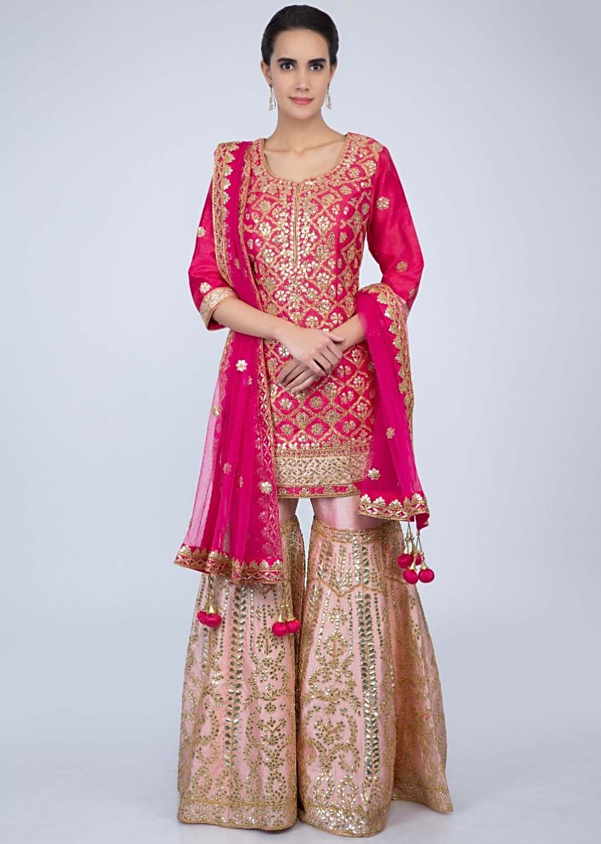 Hot Pink Suit With Gotta Embroidery And Dupatta With Contrasting Powder Pink Sharara Online - Kalki Fashion