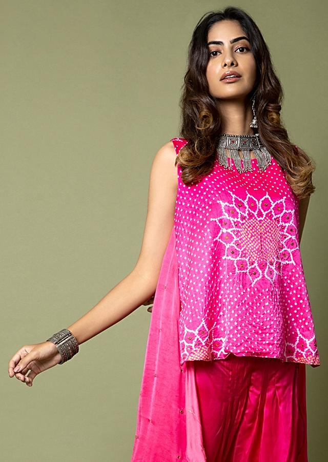 Hot Pink High Low Top And Tulip Pants Set Featuring Bandhani And Hand Embroidery Detail Online - Kalki Fashion
