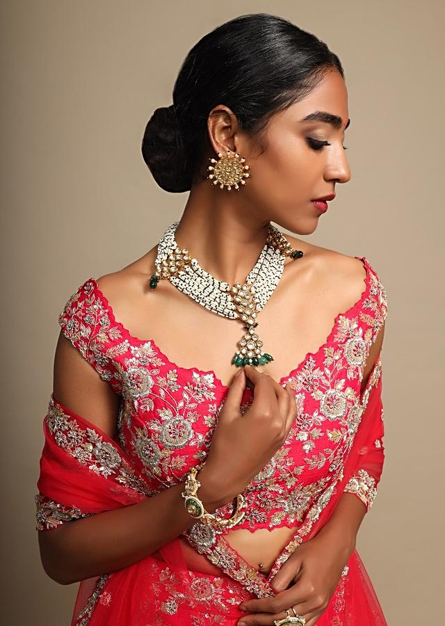 Hot Pink Lehenga Choli In Raw Silk Zardozi Embroidered Floral Jaal And Net Ruching On The Hem Online - Kalki Fashion
