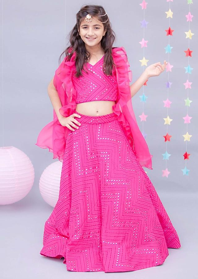 Hot Pink Lehenga Choli With Abla Embroidery With Cape By Fayon Kids