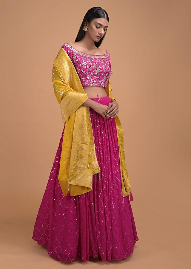 Hot Pink Lehenga Choli With Floral And Moroccan  Jaal Embroidery Online - Kalki Fashion