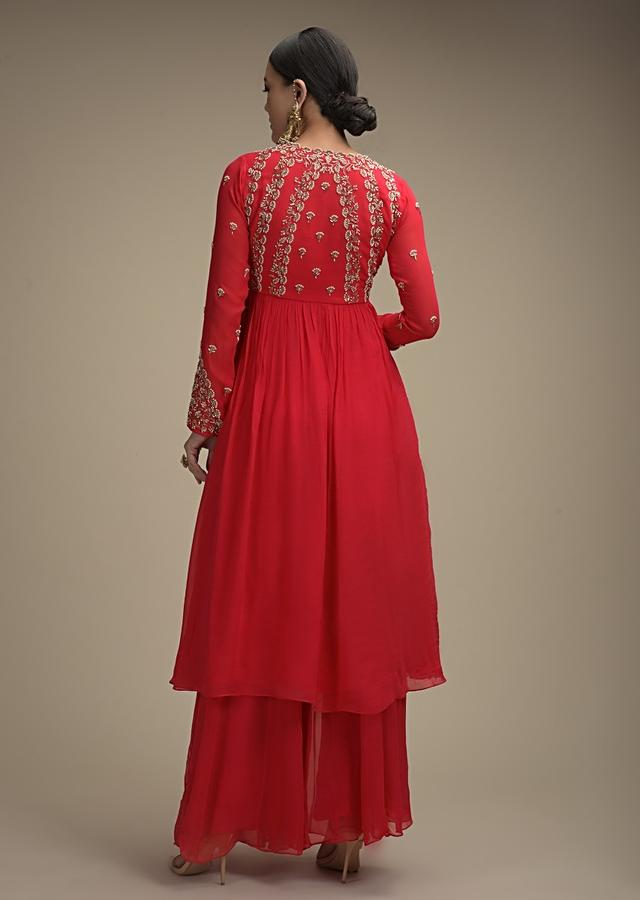 Hot Pink Palazzo Suit In Georgette With Cut Dana And Moti Embroidered Floral Buttis Online - Kalki Fashion