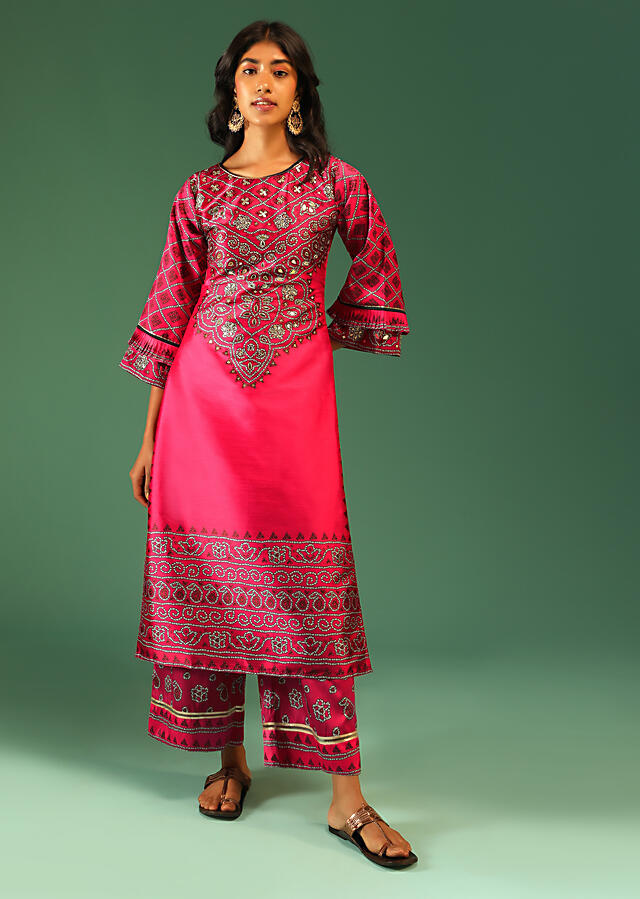 Hot Pink Palazzo Suit In Silk With Digital Printed Bandhani And Foil Work Along With Ruffle Sleeves Online - Kalki Fashion