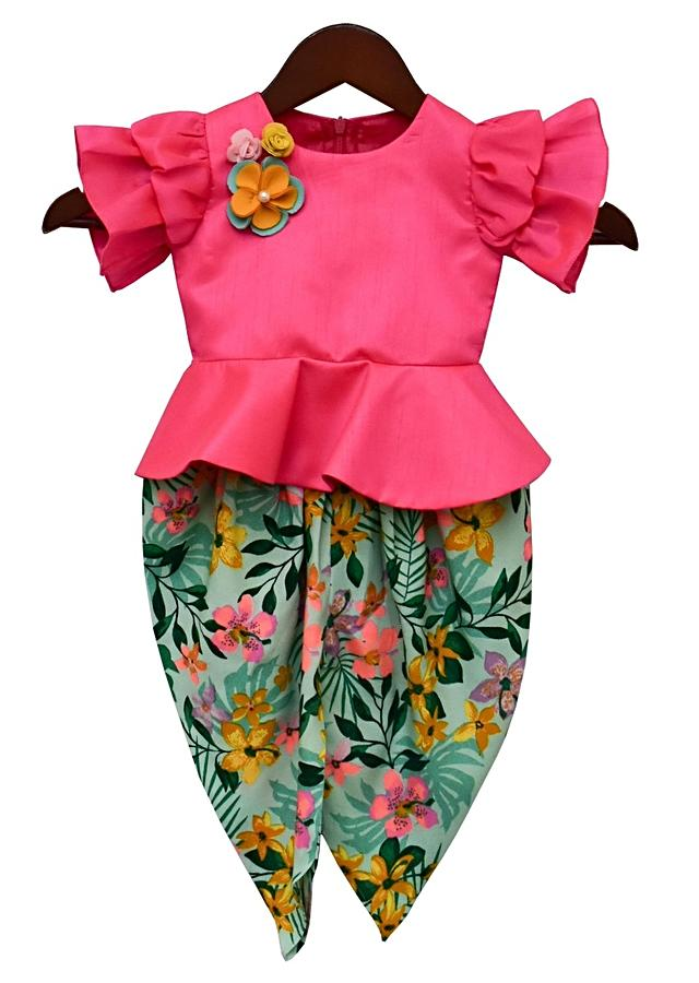 Hot Pink Peplum Top And Floral Printed Dhoti By Fayon Kids