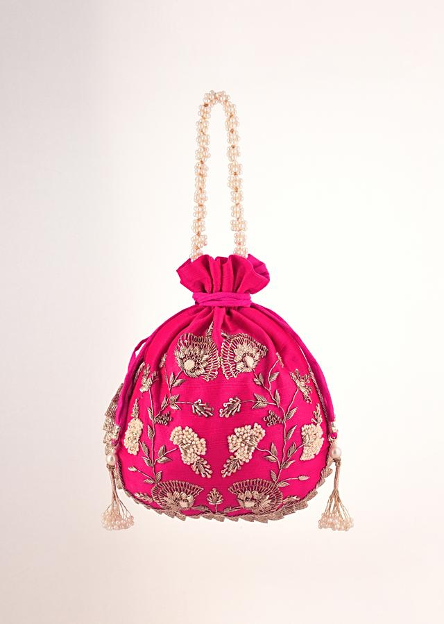 Hot Pink Potli In Raw Silk With Hand Embroidery Work Using Zardosi And Thread In Floral Design By Shubham